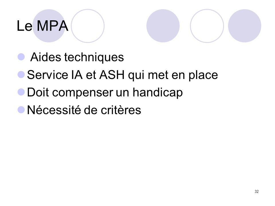 Le MPA Aides techniques Service IA et ASH qui met en place Doit compenser un handicap Nécessité de critères 32