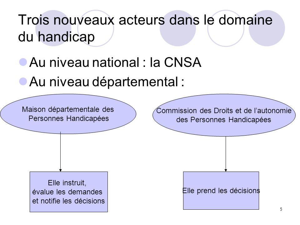 5 Trois nouveaux acteurs dans le domaine du handicap Au niveau national : la CNSA Au niveau départemental : Maison départementale des Personnes Handic