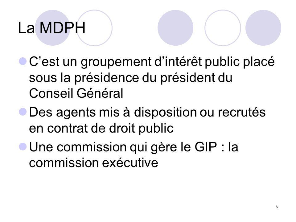 6 La MDPH Cest un groupement dintérêt public placé sous la présidence du président du Conseil Général Des agents mis à disposition ou recrutés en cont
