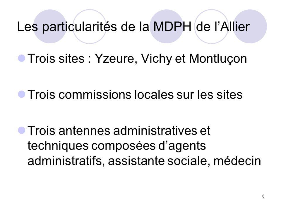8 Les particularités de la MDPH de lAllier Trois sites : Yzeure, Vichy et Montluçon Trois commissions locales sur les sites Trois antennes administrat