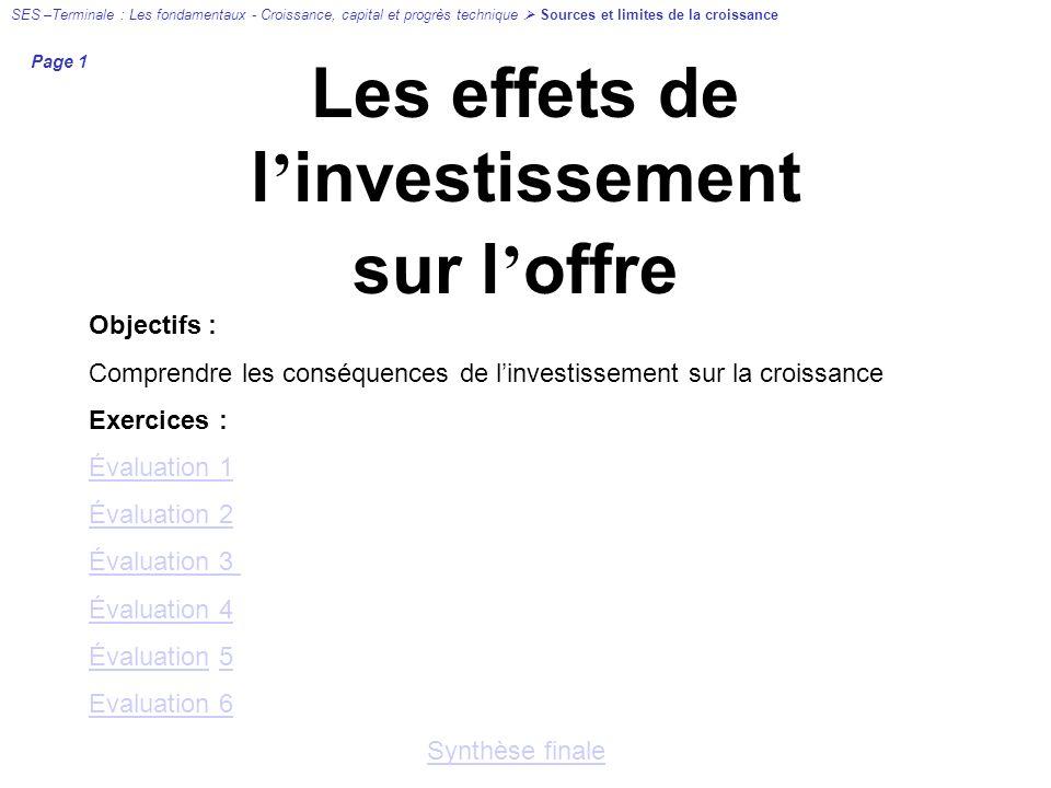 Les effets de l investissement sur l offre Objectifs : Comprendre les conséquences de linvestissement sur la croissance Exercices : Évaluation 1 Évalu