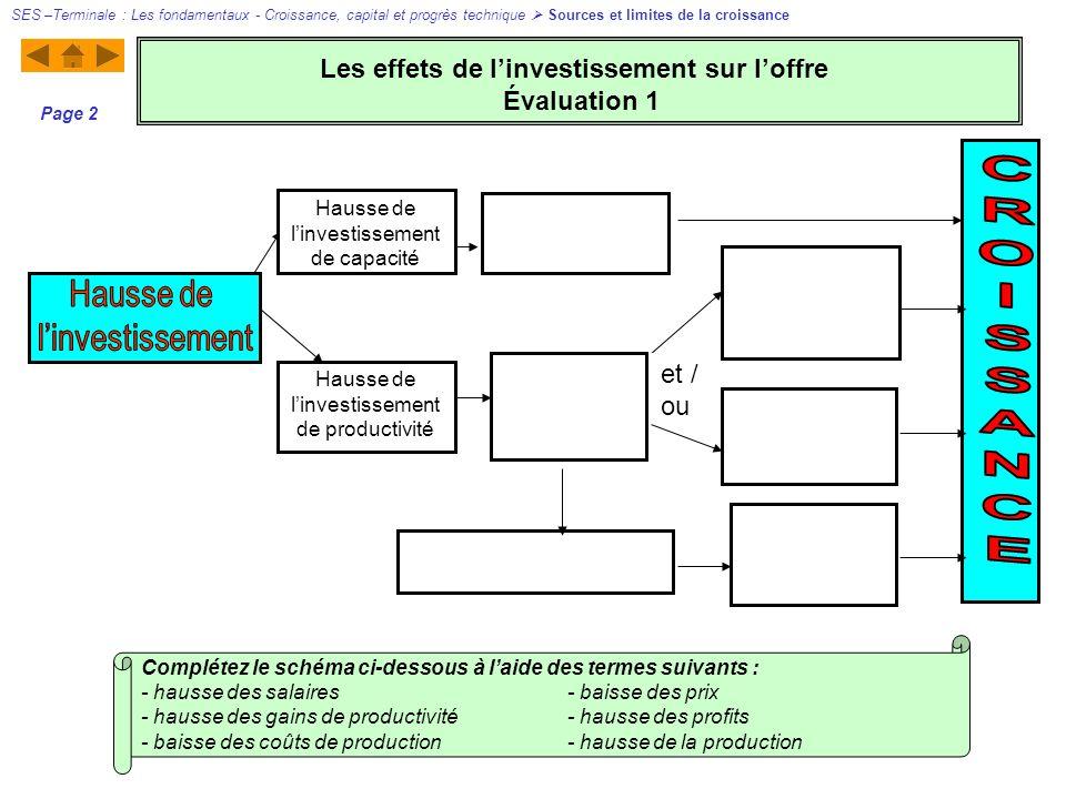 Hausse de linvestissement de productivité Hausse de linvestissement de capacité et / ou Complétez le schéma ci-dessous à laide des termes suivants : -