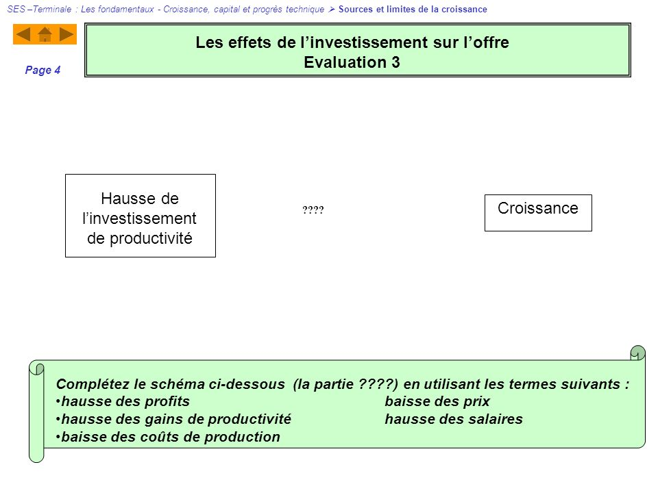 Hausse de linvestissement de productivité Croissance ???? SES –Terminale : Les fondamentaux - Croissance, capital et progrès technique Sources et limi
