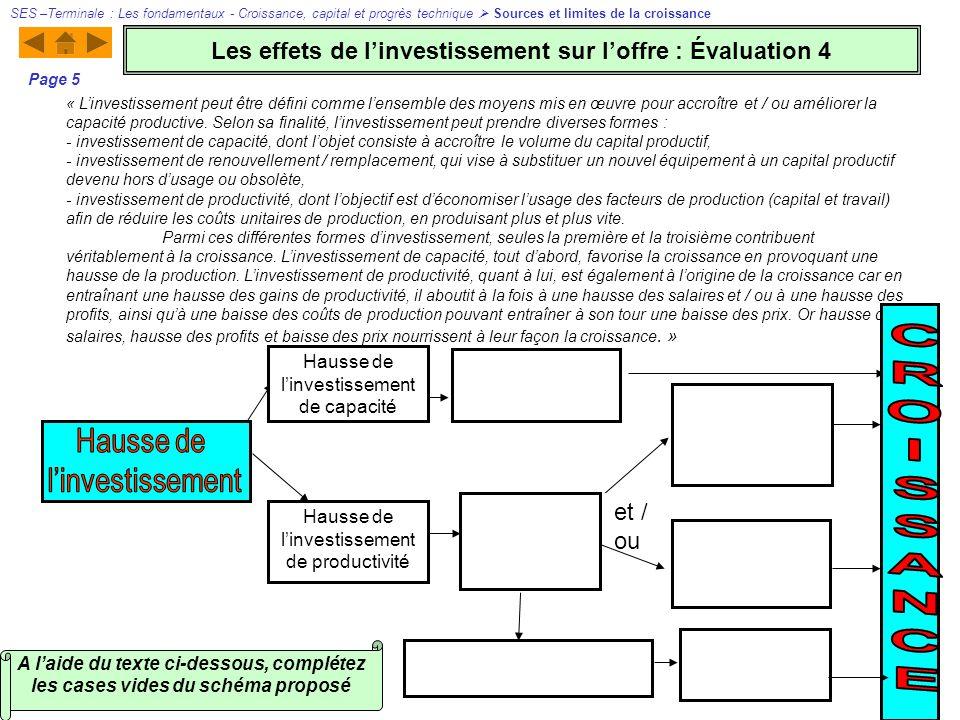 A laide du texte ci-dessous, complétez les cases vides du schéma proposé « Linvestissement peut être défini comme lensemble des moyens mis en œuvre po