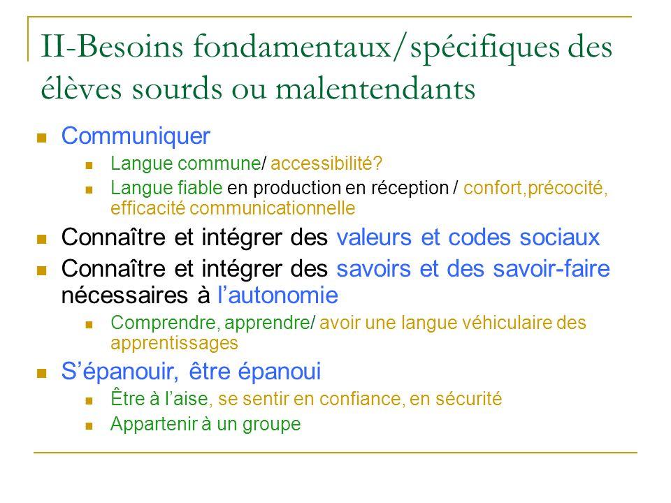 II-Besoins fondamentaux/spécifiques des élèves sourds ou malentendants Communiquer Langue commune/ accessibilité? Langue fiable en production en récep