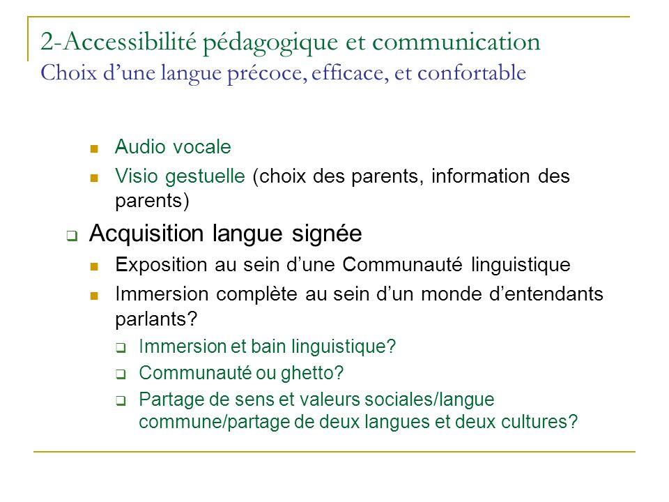 2-Accessibilité pédagogique et communication Choix dune langue précoce, efficace, et confortable Audio vocale Visio gestuelle (choix des parents, info