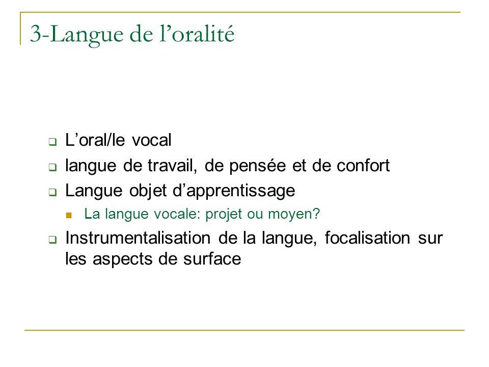 Loral/le vocal langue de travail, de pensée et de confort Langue objet dapprentissage La langue vocale: projet ou moyen? Instrumentalisation de la lan