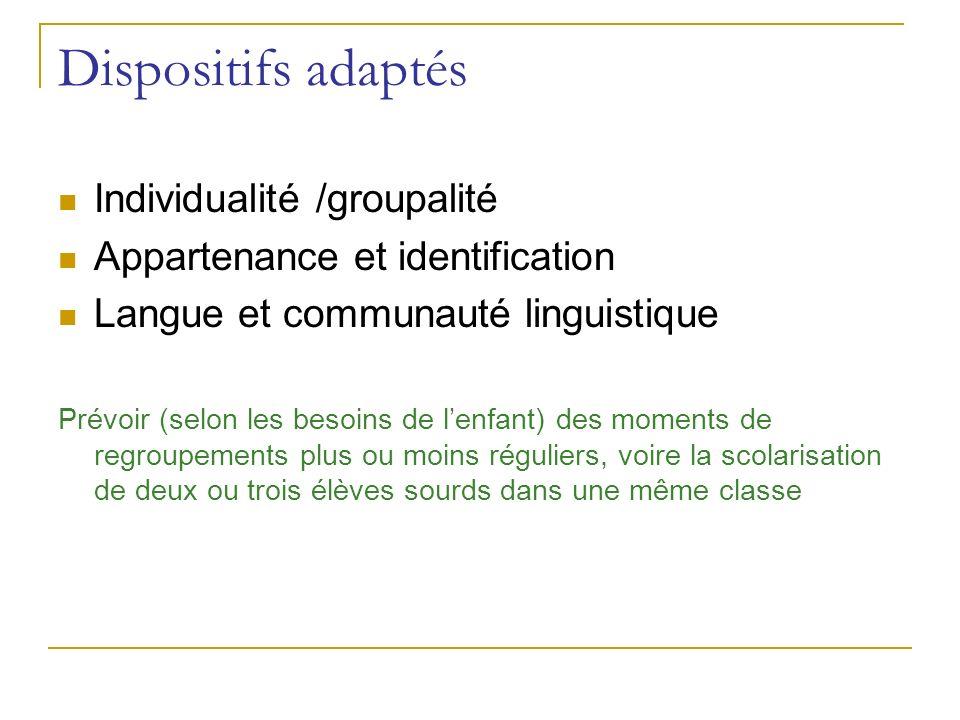 Dispositifs adaptés Individualité /groupalité Appartenance et identification Langue et communauté linguistique Prévoir (selon les besoins de lenfant)