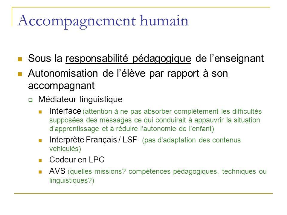 Accompagnement humain Sous la responsabilité pédagogique de lenseignant Autonomisation de lélève par rapport à son accompagnant Médiateur linguistique