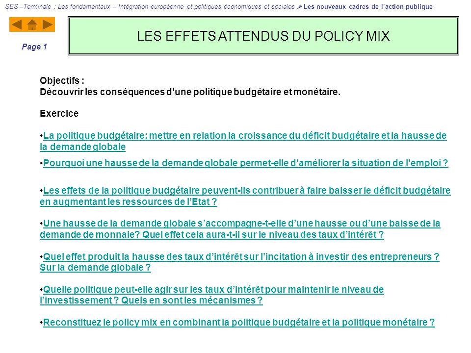 LES EFFETS ATTENDUS DU POLICY MIX SES –Terminale : Les fondamentaux – Intégration européenne et politiques économiques et sociales Les nouveaux cadres de laction publique Page 1 Objectifs : Découvrir les conséquences dune politique budgétaire et monétaire.
