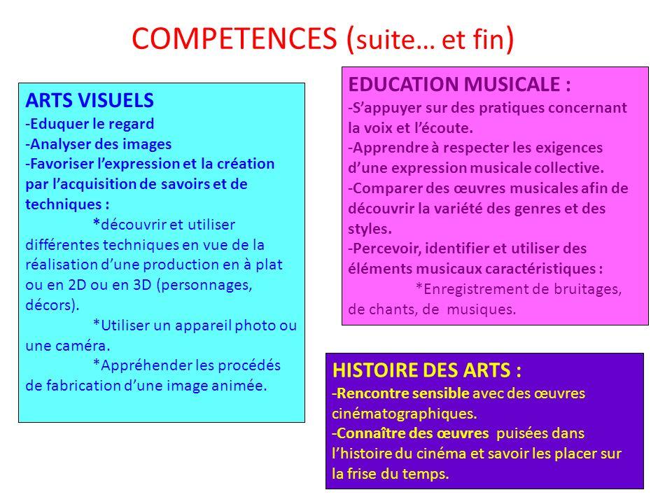 COMPETENCES ( suite… et fin ) ARTS VISUELS -Eduquer le regard -Analyser des images -Favoriser lexpression et la création par lacquisition de savoirs e