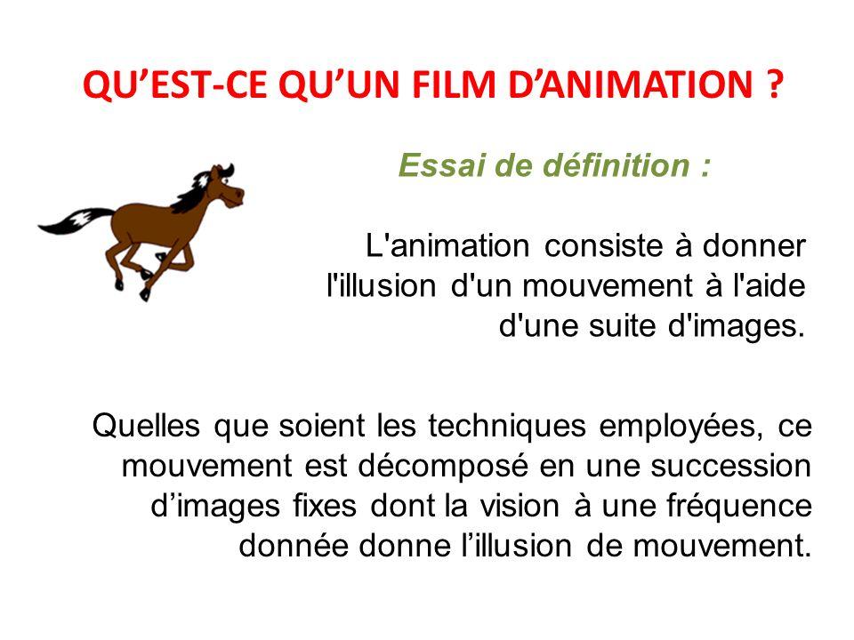 QUEST-CE QUUN FILM DANIMATION ? Essai de définition : L'animation consiste à donner l'illusion d'un mouvement à l'aide d'une suite d'images. Quelles q