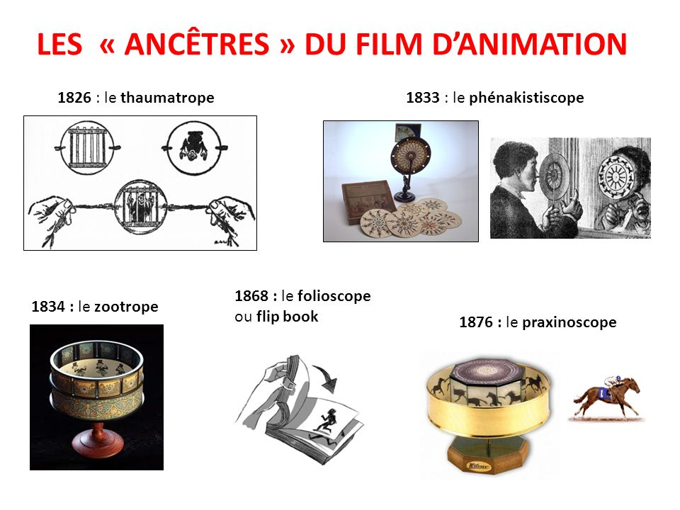 LES « ANCÊTRES » DU FILM DANIMATION 1826 : le thaumatrope1833 : le phénakistiscope 1876 : le praxinoscope 1834 : le zootrope 1868 : le folioscope ou f