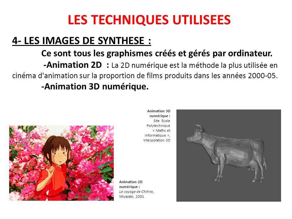 LES TECHNIQUES UTILISEES 4- LES IMAGES DE SYNTHESE : Ce sont tous les graphismes créés et gérés par ordinateur. -Animation 2D : La 2D numérique est la