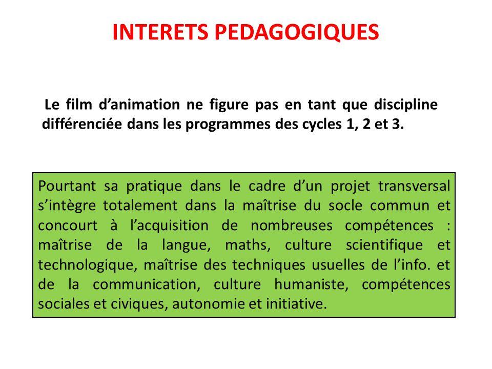 INTERETS PEDAGOGIQUES Le film danimation ne figure pas en tant que discipline différenciée dans les programmes des cycles 1, 2 et 3. Pourtant sa prati
