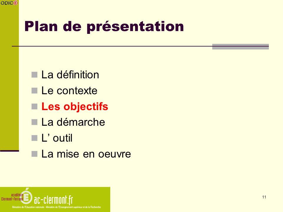 11 Plan de présentation La définition Le contexte Les objectifs La démarche L outil La mise en oeuvre