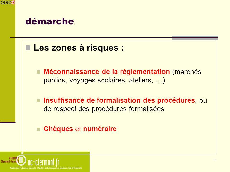 16 démarche Les zones à risques : Méconnaissance de la réglementation (marchés publics, voyages scolaires, ateliers, …) Insuffisance de formalisation