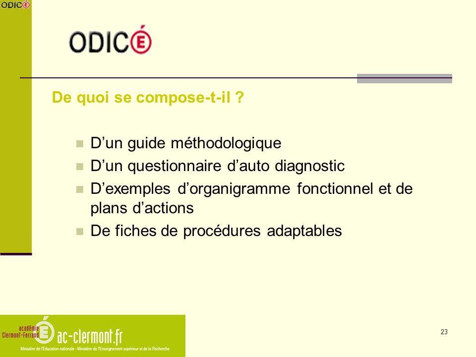 23 De quoi se compose-t-il ? Dun guide méthodologique Dun questionnaire dauto diagnostic Dexemples dorganigramme fonctionnel et de plans dactions De f
