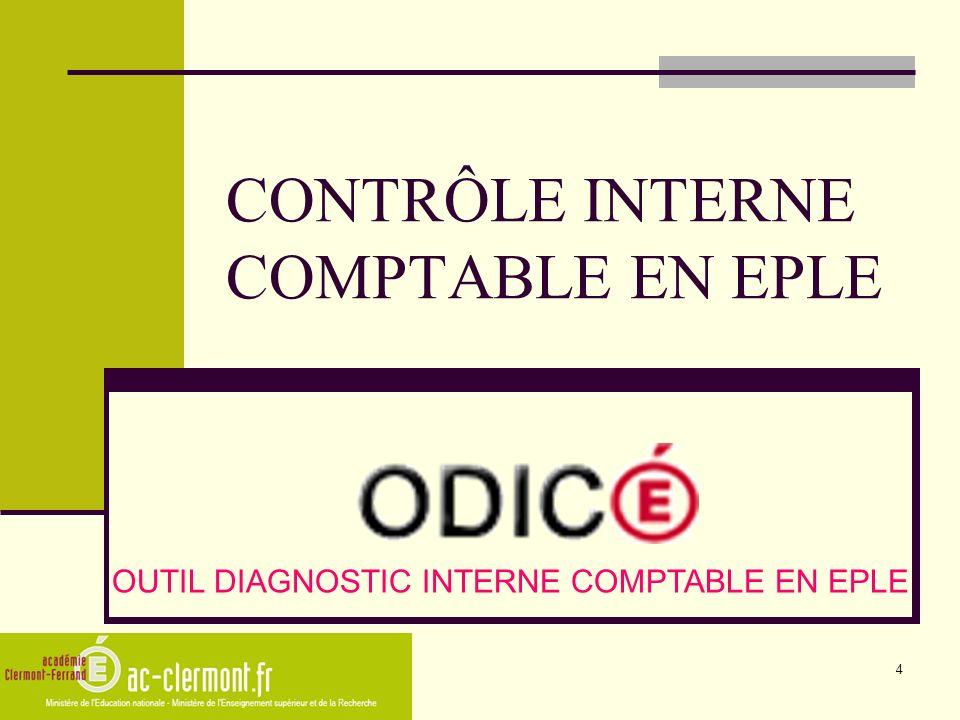 4 CONTRÔLE INTERNE COMPTABLE EN EPLE OUTIL DIAGNOSTIC INTERNE COMPTABLE EN EPLE