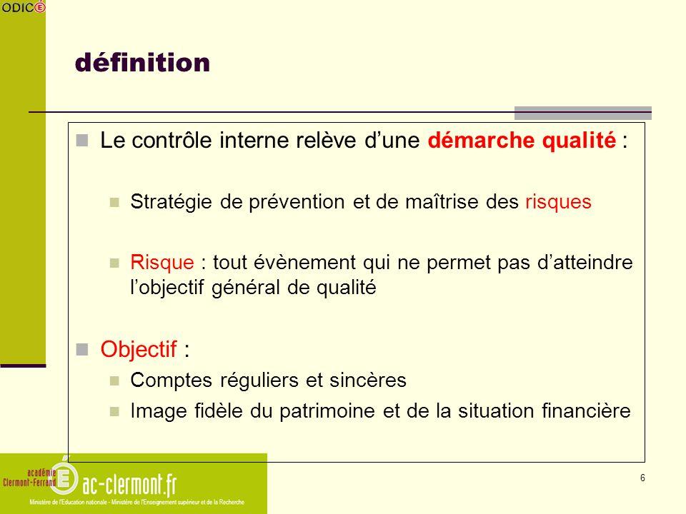 6 définition Le contrôle interne relève dune démarche qualité : Stratégie de prévention et de maîtrise des risques Risque : tout évènement qui ne perm