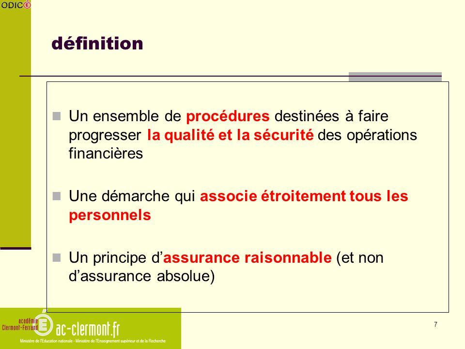 7 définition Un ensemble de procédures destinées à faire progresser la qualité et la sécurité des opérations financières Une démarche qui associe étro