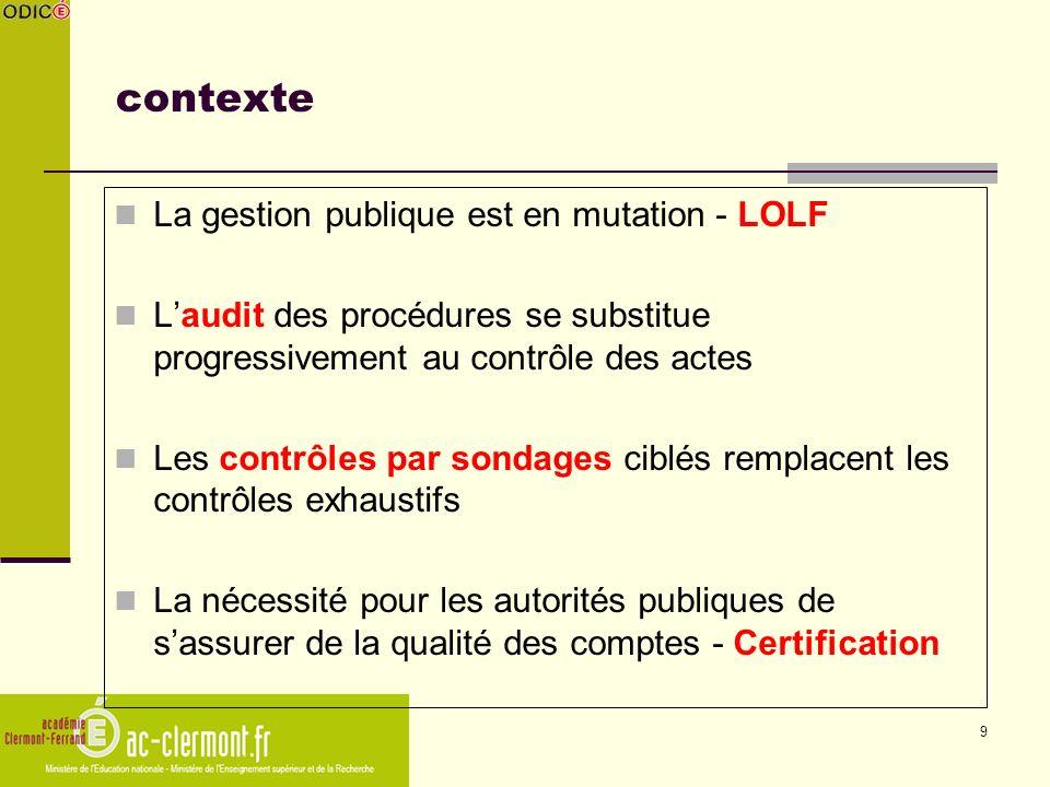 9 contexte La gestion publique est en mutation - LOLF Laudit des procédures se substitue progressivement au contrôle des actes Les contrôles par sonda