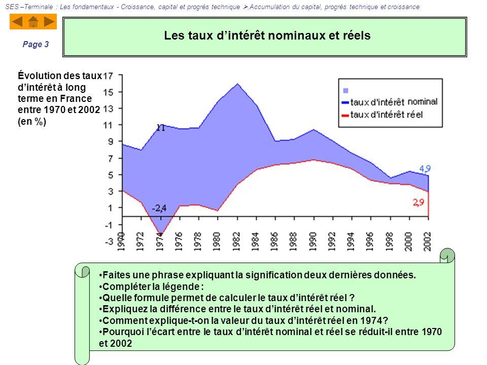 Évolution des taux dintérêt à long terme en France entre 1970 et 2002 (en %) Faites une phrase expliquant la signification deux dernières données. Com