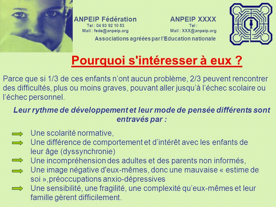 ANPEIP XXXX Tel : Mail : XXX@anpeip.org Associations agréées par lEducation nationale ANPEIP Fédération Tel : 04 93 92 10 53 Mail : fede@anpeip.org Re