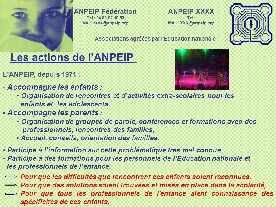 Un regard bienveillant ANPEIP XXXX Tel : Mail : XXX@anpeip.org Associations agréées par lEducation nationale ANPEIP Fédération Tel : 04 93 92 10 53 Ma