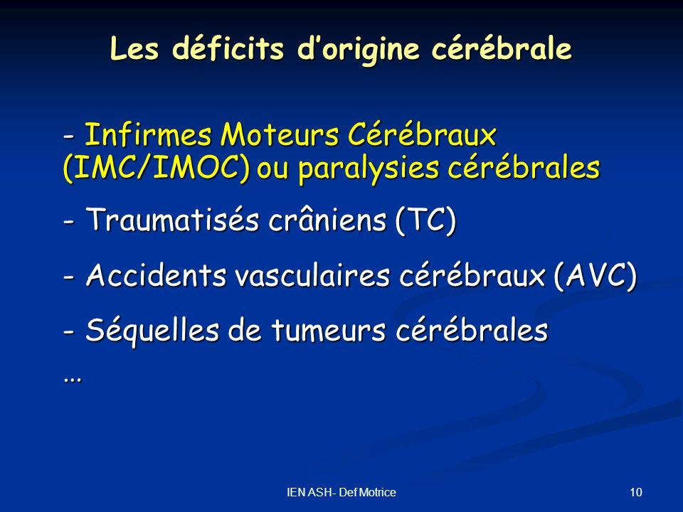 10IEN ASH- Def Motrice Les déficits dorigine cérébrale - Infirmes Moteurs Cérébraux (IMC/IMOC) ou paralysies cérébrales - Traumatisés crâniens (TC) -