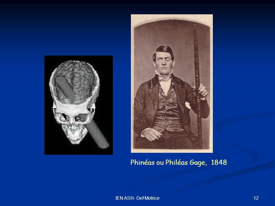 12IEN ASH- Def Motrice Phinéas ou Philéas Gage, 1848