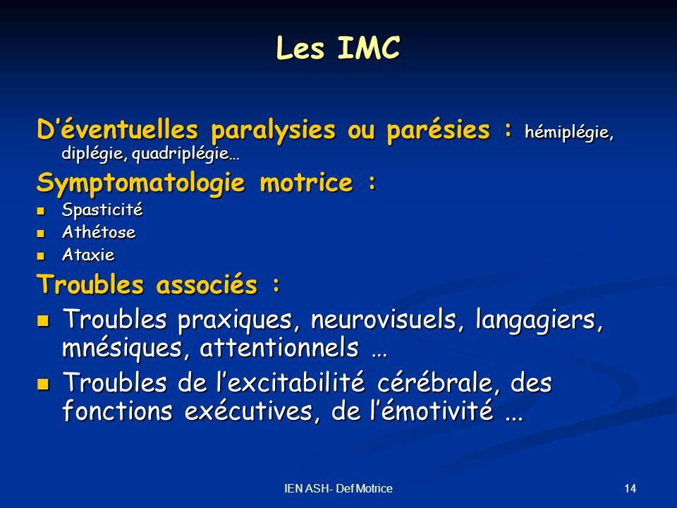 14IEN ASH- Def Motrice Les IMC Déventuelles paralysies ou parésies : hémiplégie, diplégie, quadriplégie… Symptomatologie motrice : Spasticité Spastici