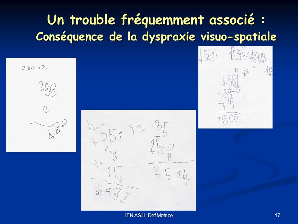 17IEN ASH- Def Motrice Un trouble fréquemment associé : Conséquence de la dyspraxie visuo-spatiale