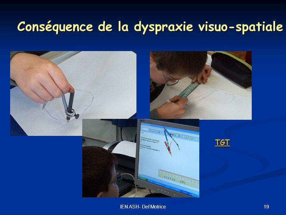 19IEN ASH- Def Motrice Conséquence de la dyspraxie visuo-spatiale TGT