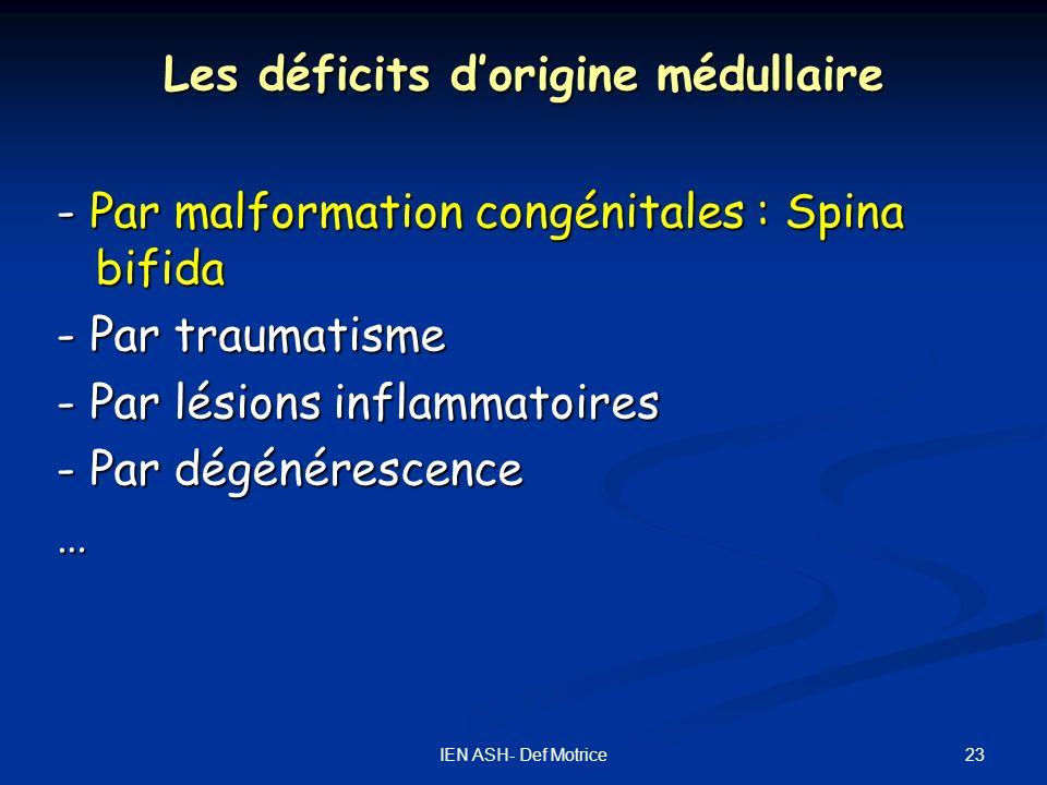 23IEN ASH- Def Motrice Les déficits dorigine médullaire - Par malformation congénitales : Spina bifida - Par traumatisme - Par lésions inflammatoires