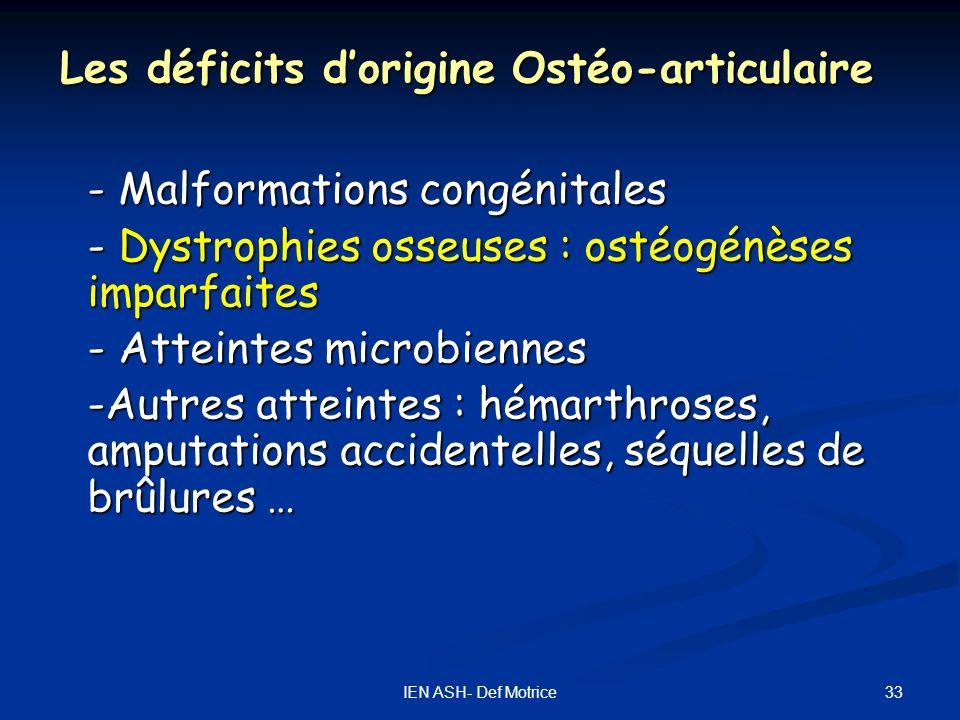 33IEN ASH- Def Motrice Les déficits dorigine Ostéo-articulaire - Malformations congénitales - Dystrophies osseuses : ostéogénèses imparfaites - Attein