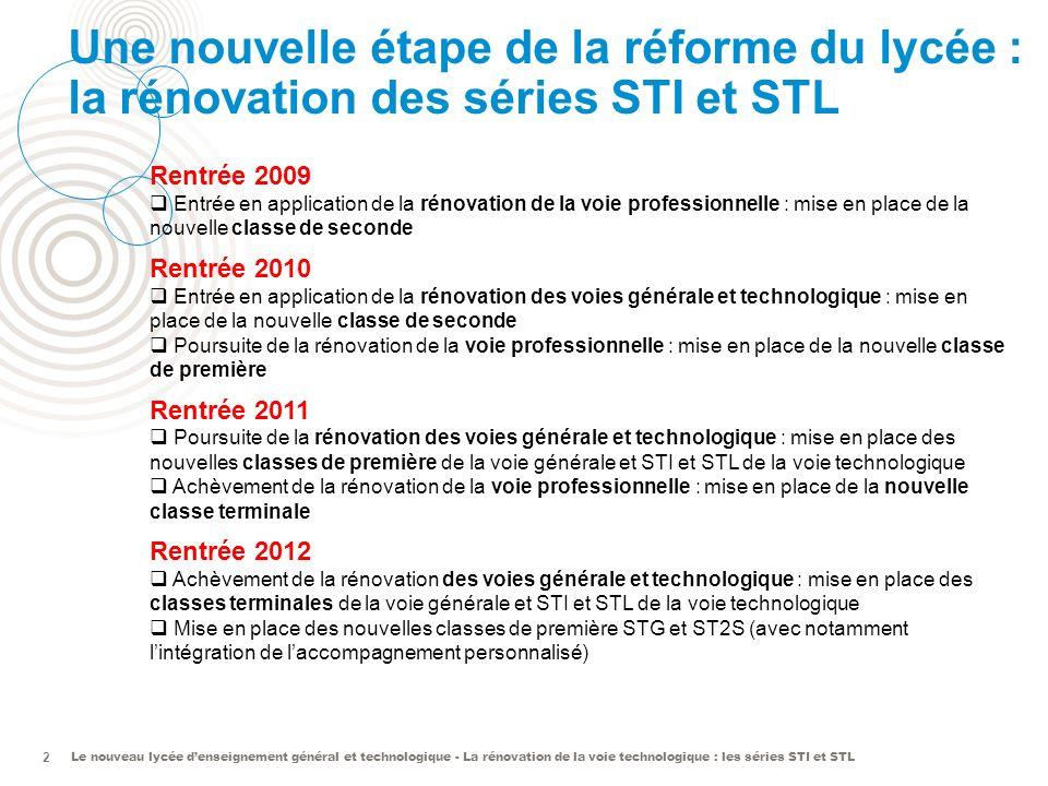 Le nouveau lycée denseignement général et technologique - La rénovation de la voie technologique : les séries STI et STL 2 Une nouvelle étape de la réforme du lycée : la rénovation des séries STI et STL Rentrée 2009 Entrée en application de la rénovation de la voie professionnelle : mise en place de la nouvelle classe de seconde Rentrée 2010 Entrée en application de la rénovation des voies générale et technologique : mise en place de la nouvelle classe de seconde Poursuite de la rénovation de la voie professionnelle : mise en place de la nouvelle classe de première Rentrée 2011 Poursuite de la rénovation des voies générale et technologique : mise en place des nouvelles classes de première de la voie générale et STI et STL de la voie technologique Achèvement de la rénovation de la voie professionnelle : mise en place de la nouvelle classe terminale Rentrée 2012 Achèvement de la rénovation des voies générale et technologique : mise en place des classes terminales de la voie générale et STI et STL de la voie technologique Mise en place des nouvelles classes de première STG et ST2S (avec notamment lintégration de laccompagnement personnalisé)