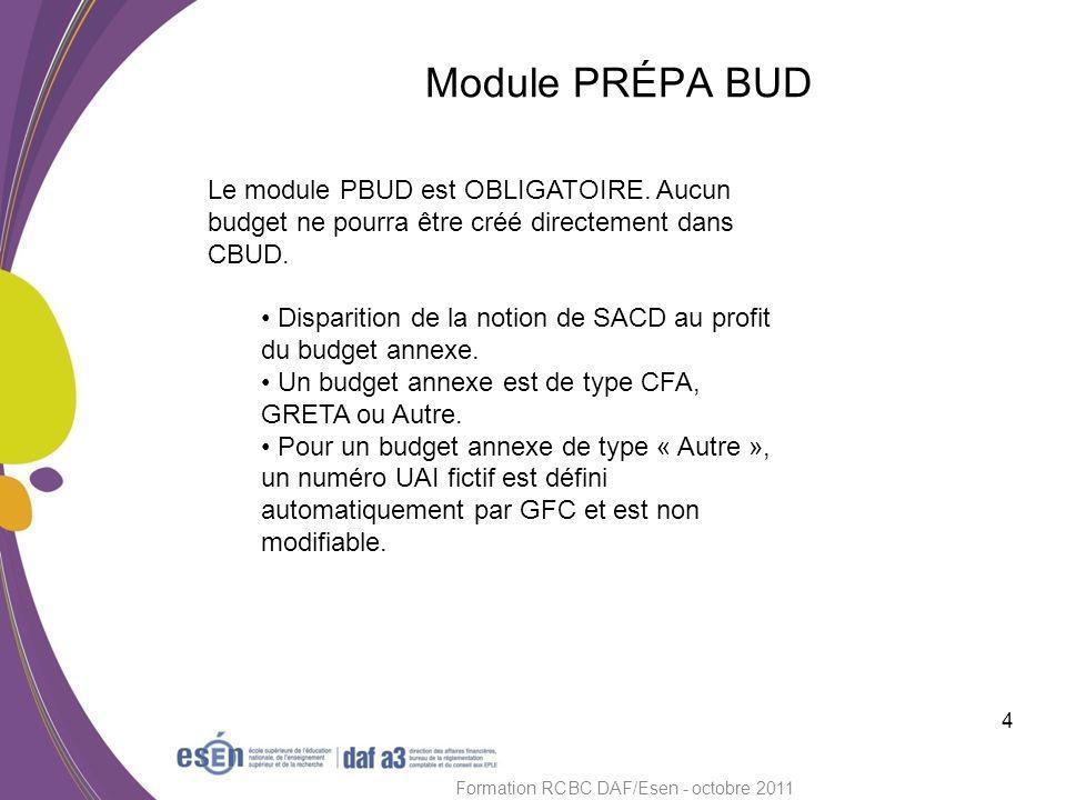 5 Formation RCBC DAF/Esen - octobre 2011 Module PRÉPA BUD Certaines activités dun EPLE peuvent être gérées actuellement en SACD et ont donc un n° RNE.