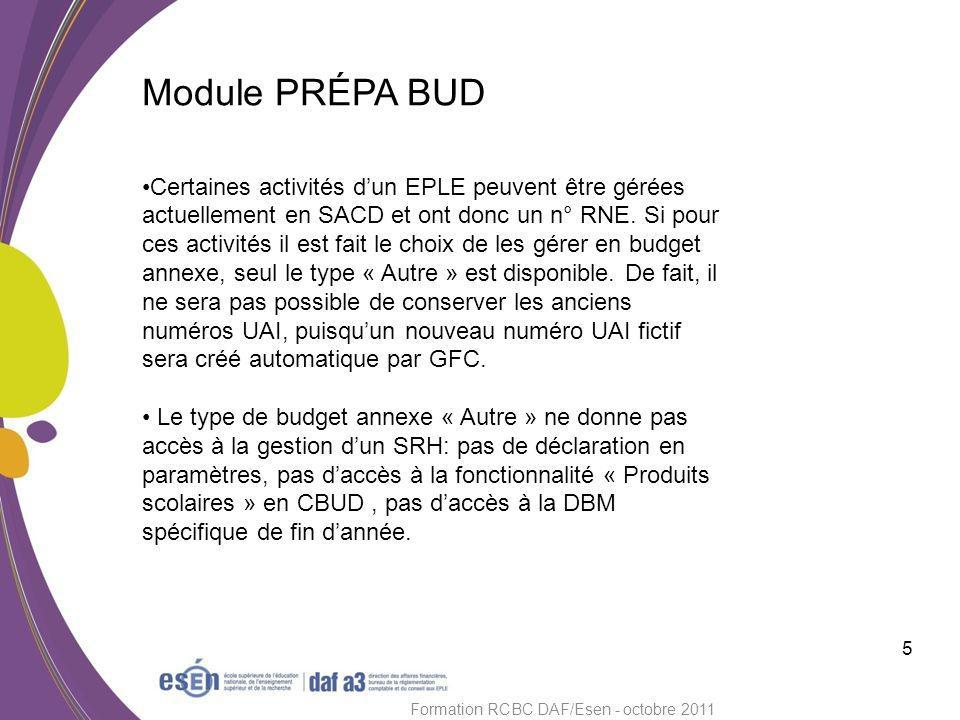 Module PRÉPA BUD 6 Formation RCBC DAF/Esen - octobre 2011 T outes les actions de saisie et dédition se font sur le budget concerné (principal ou annexe).