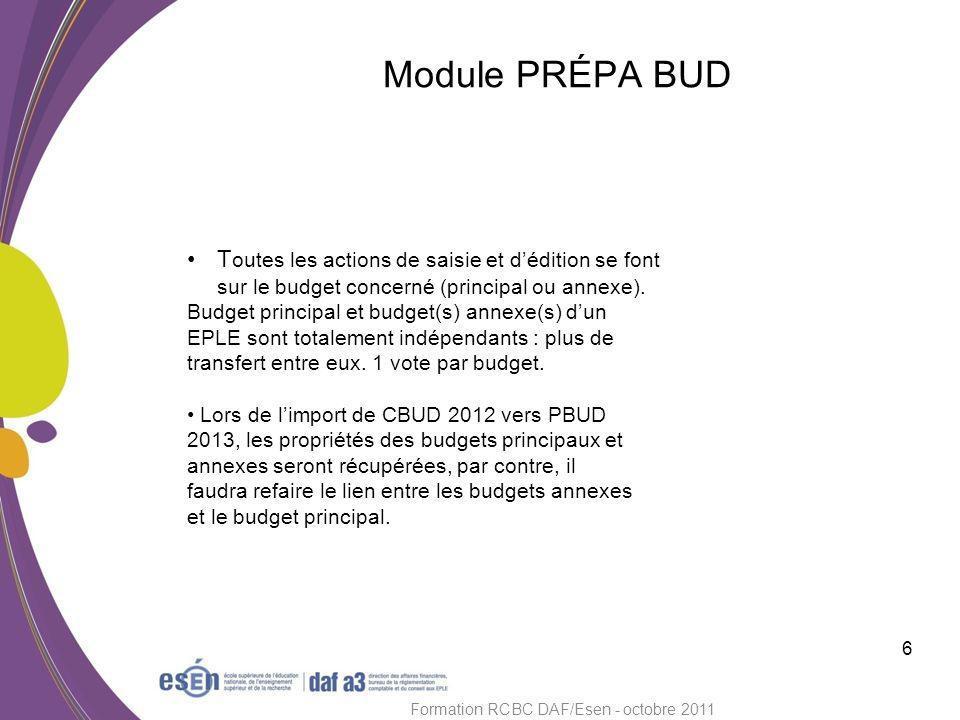 Module PRÉPA BUD 7 Formation RCBC DAF/Esen - octobre 2011 Lextrait de délibération du CA ne se saisit plus dans GFC.