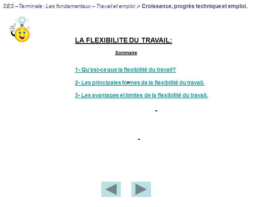 LA FLEXIBILITE DU TRAVAIL: Sommaire 1- Quest-ce que la flexibilité du travail? 2- Les principales formes de la flexibilité du travail. 3- Les avantage