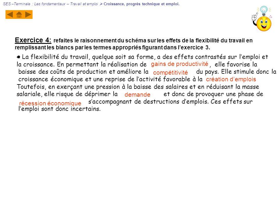 Exercice 4: refaites le raisonnement du schéma sur les effets de la flexibilité du travail en remplissant les blancs par les termes appropriés figuran