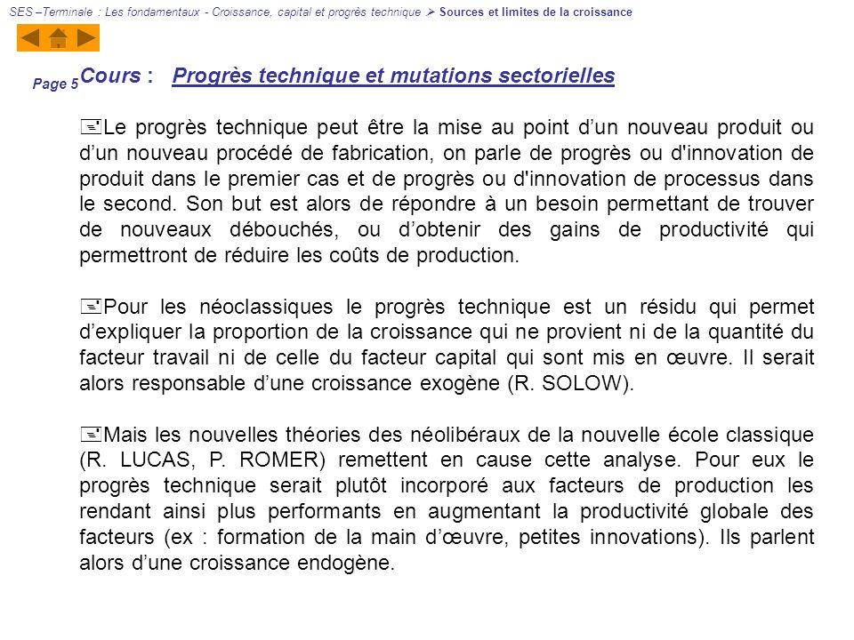 Cours : Progrès technique et mutations sectorielles Le progrès technique peut être la mise au point dun nouveau produit ou dun nouveau procédé de fabr