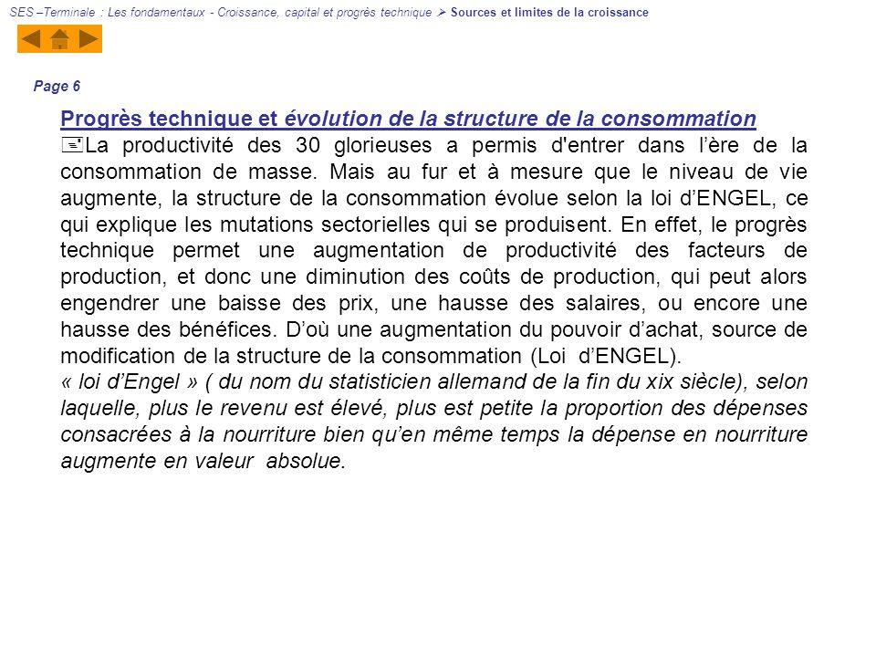 Progrès technique et évolution de la structure de la consommation La productivité des 30 glorieuses a permis d'entrer dans lère de la consommation de