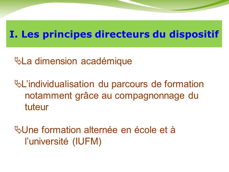 I. Les principes directeurs du dispositif La dimension académique Lindividualisation du parcours de formation notamment grâce au compagnonnage du tute