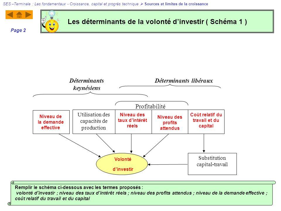 Utilisation des capacités de production Déterminants keynésiens Déterminants libéraux Substitution capital-travail Profitabilité Niveau de la demande