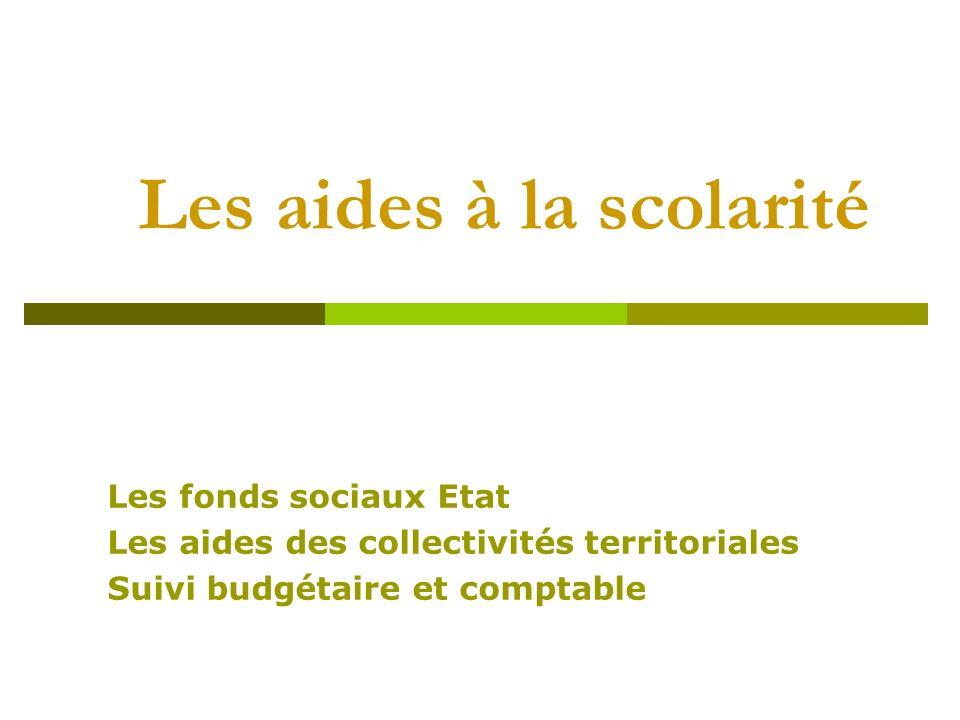 Les aides à la scolarité Les fonds sociaux Etat Les aides des collectivités territoriales Suivi budgétaire et comptable