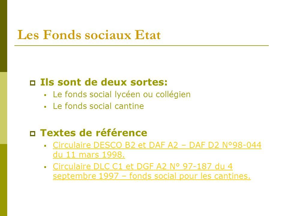 Les Fonds sociaux Etat Ils sont de deux sortes: Le fonds social lycéen ou collégien Le fonds social cantine Textes de référence Circulaire DESCO B2 et