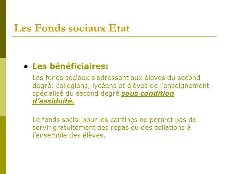 Les Fonds sociaux Etat Conditions dattribution: Les aides sont accordées aux familles conformément aux critères soumis à la délibération du Conseil dAdministration de létablissement.