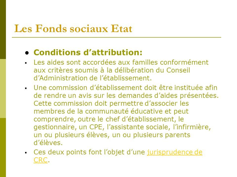 Les Fonds sociaux Etat Conditions dattribution: Les aides sont accordées aux familles conformément aux critères soumis à la délibération du Conseil dA